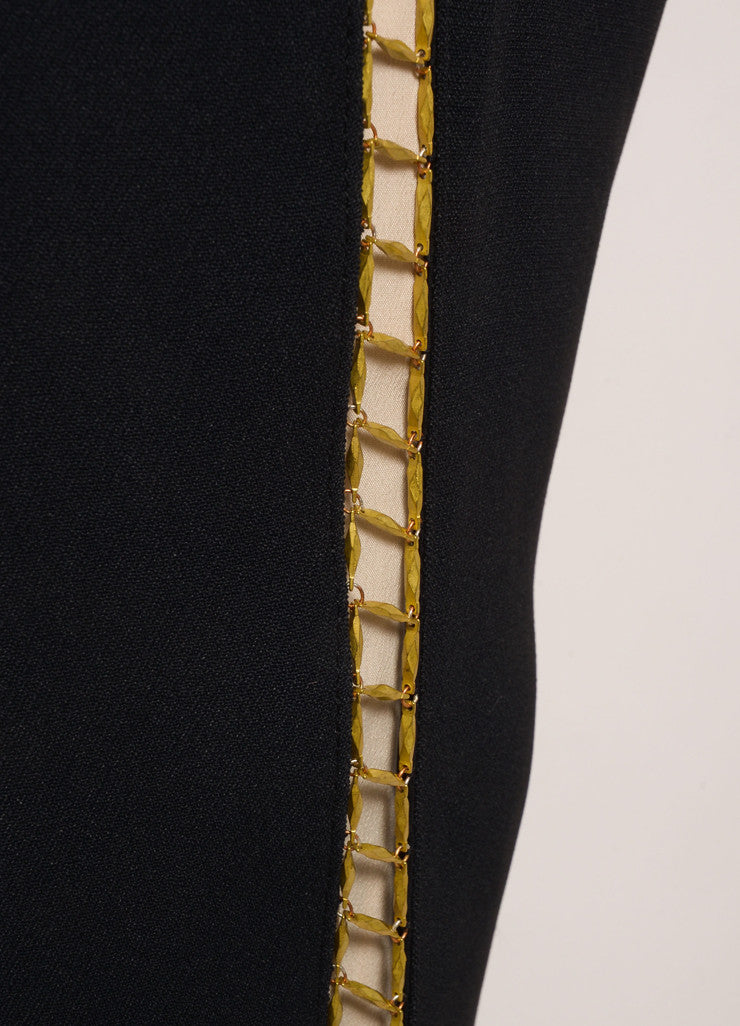 Chloe New With Tags Black and Gold Toned Chain Trim Ankle Crop Trousers Detail