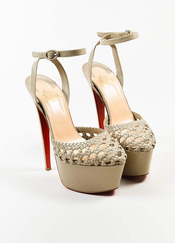 Christian Louboutin Taupe Leather Woven Ultra High Platform Sandals Frontview
