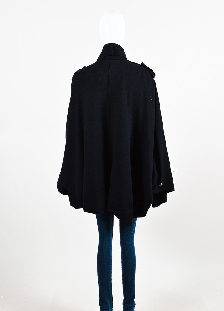 Emilio Pucci Black Wool Cashmere Blend Double Breasted Cape Jacket Backview