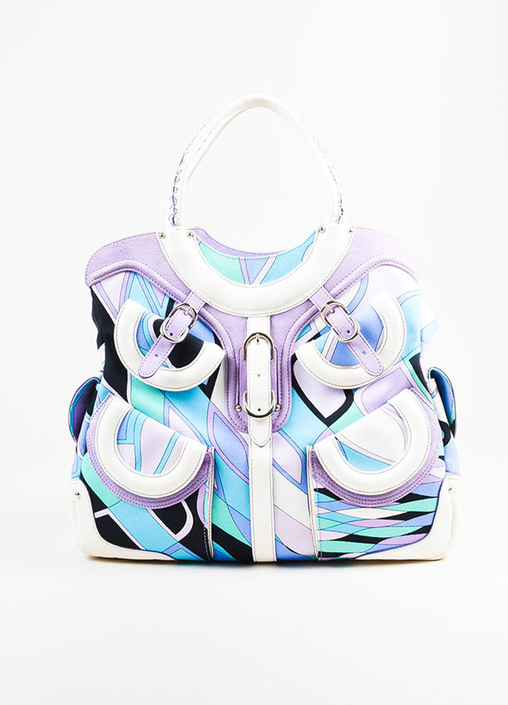 Emilio Pucci White, Lavender, and Teal Canvas Leather Trim Printed Pockets Handbag Frontview