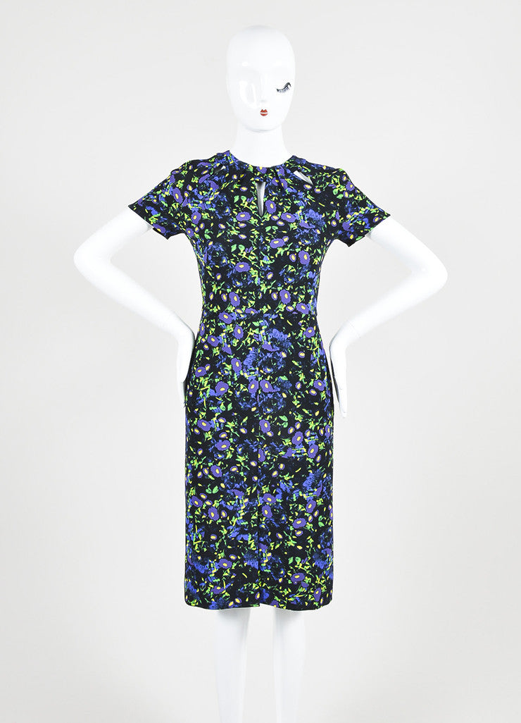 "Black, Purple, and Green Erdem Floral Print ""Camila"" Sheath Dress Frontview"