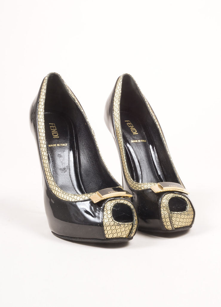 Fendi Black and Gold Toned Patent Leather Metallic Trim Bow Peep Toe Pumps Frontview