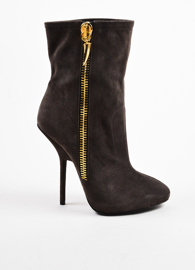 Taupe Gray Giuseppe Zanotti Suede Zipper High Heeled Booties Side