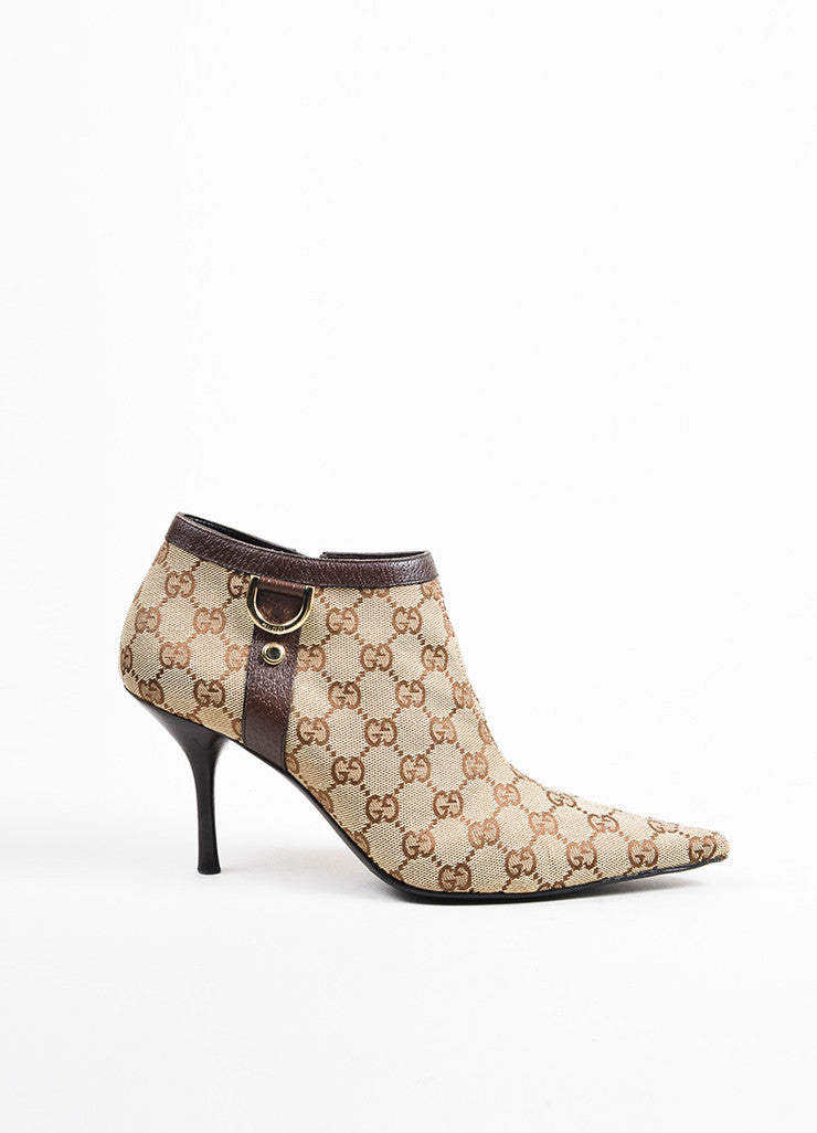 Gucci Brown Monogram Canvas Pointed Toe Booties Sideview