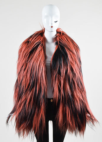 Red and Black Gucci Goat Fur Long Hair Coat  Frontview
