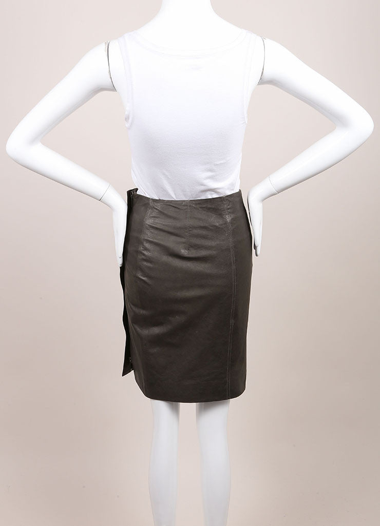 "Haider Ackermann New With Tags Grey Leather Front Zip ""Athena"" Pencil Skirt Backview"