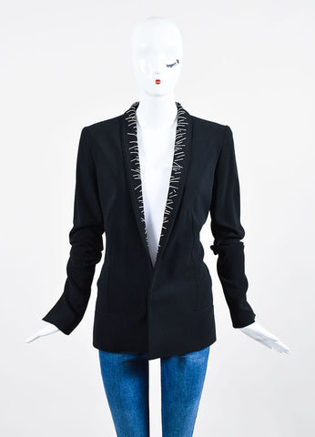 Black Haider Ackermann Ribbed Crepe Topstitched Blazer Frontview 2