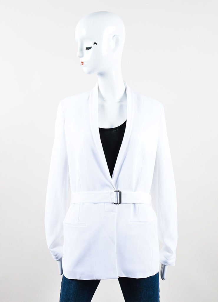 "White Helmut Lang Jersey Belted Waist Long Sleeve ""Torsion"" Jacket Frontview"