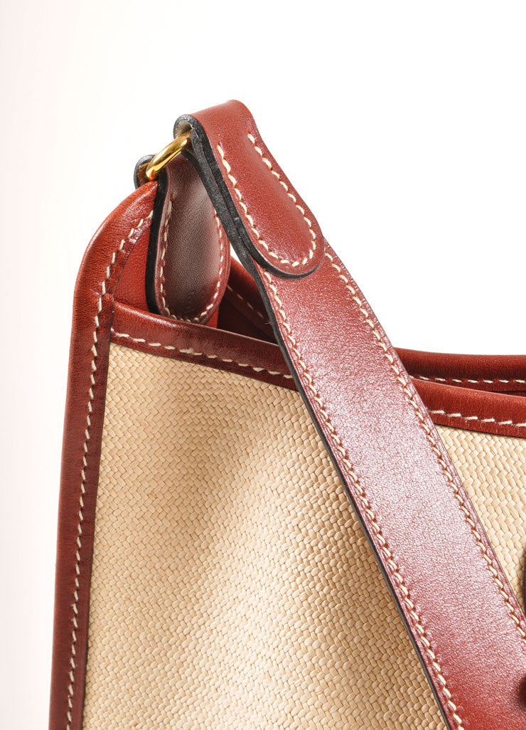 "Hermes Cream and Brown Raffia and Leather Toggle ""Vespa"" Shoulder Bag Detail 2"
