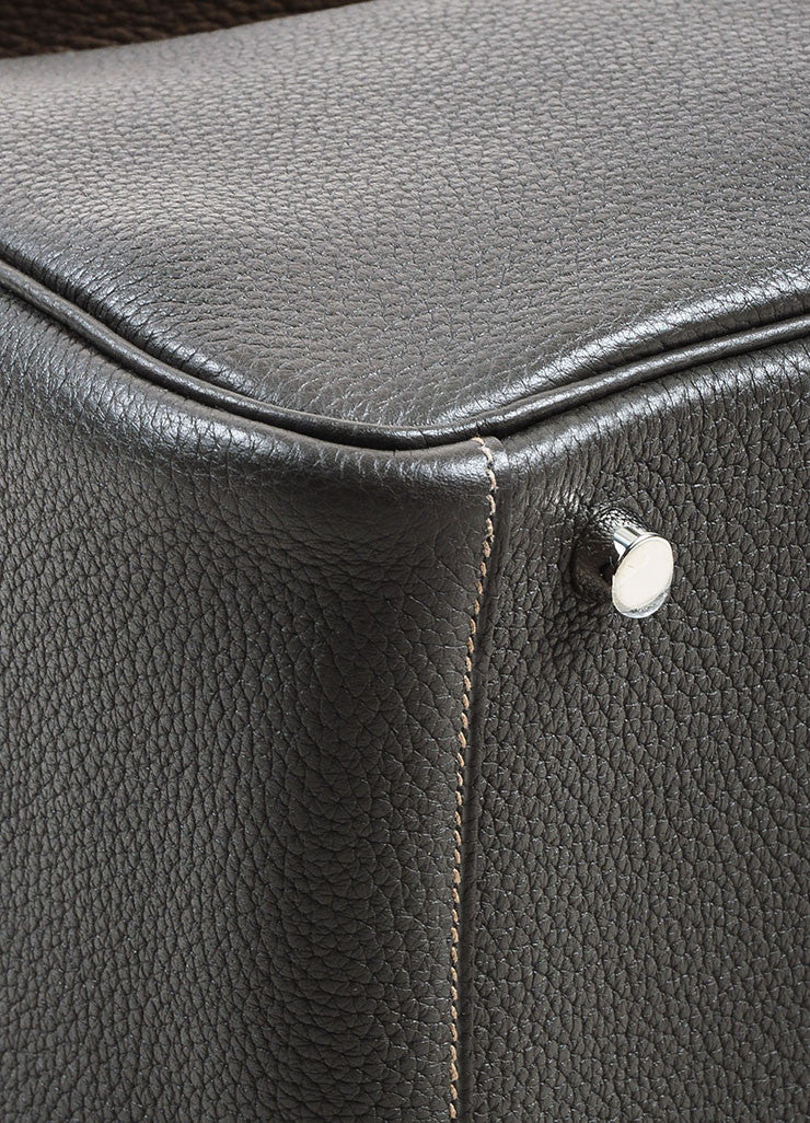 "Hermes Graphite and Etoupe Taurillon Clemence Leather ""Lindy 26"" Handbag Detail 2"