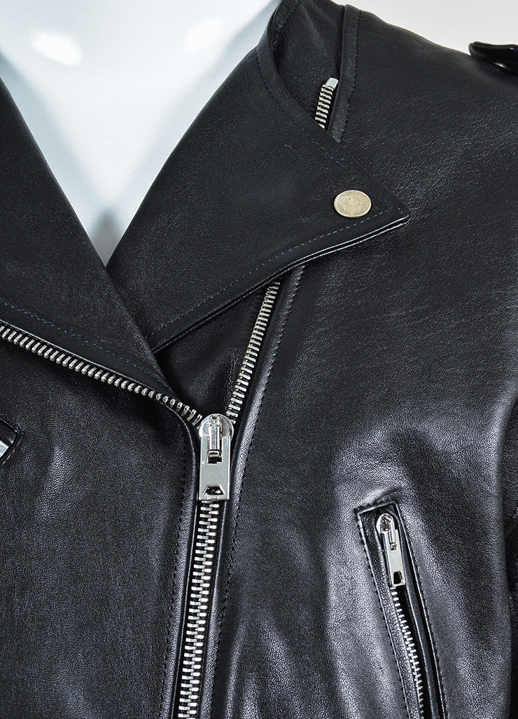"Black Isabel Marant Leather ""Audric"" Moto Jacket Detail"