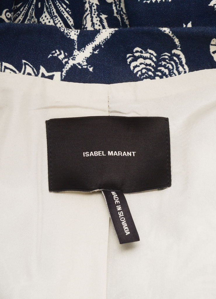 Isabel Marant Navy and Cream Linen Blend Floral Long Sleeve Blazer Jacket Brand