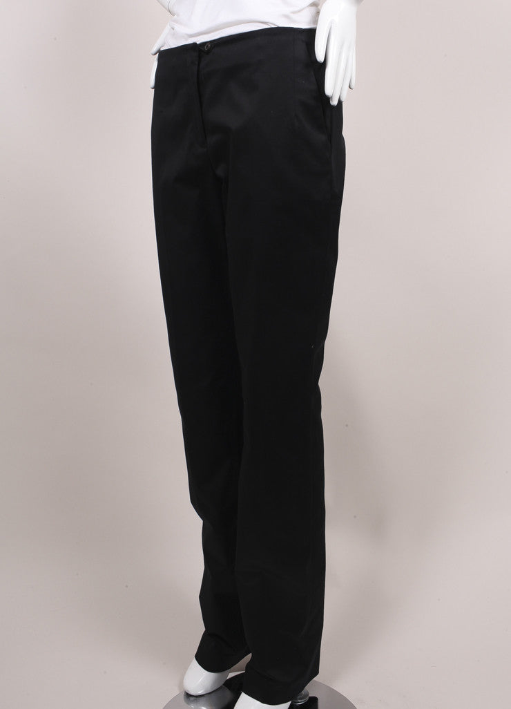 "Jil Sander New With Tags Black Sateen Cotton Straight Leg ""Giulio"" Trousers Sideview"