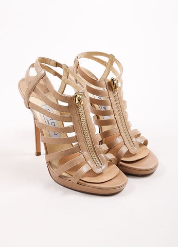"Jimmy Choo Beige Leather Cage Zipper Platform Heel ""Glenys"" Sandals Frontview"