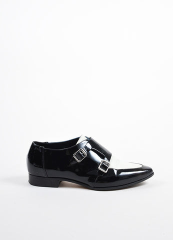 Jimmy Choo Black and Cream Patent Leather Buckled Oxfords Sideview
