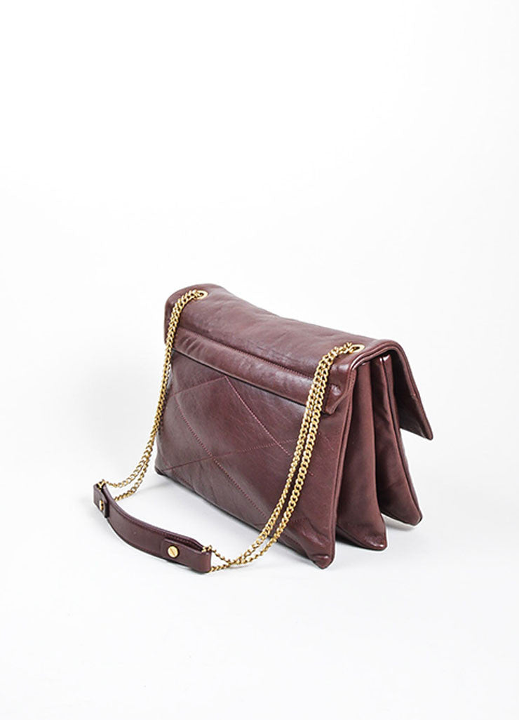 "Oxblood Red Lanvin Lambskin Leather Chain Strap ""Medium Sugar"" Flap Bag Sideview 2"