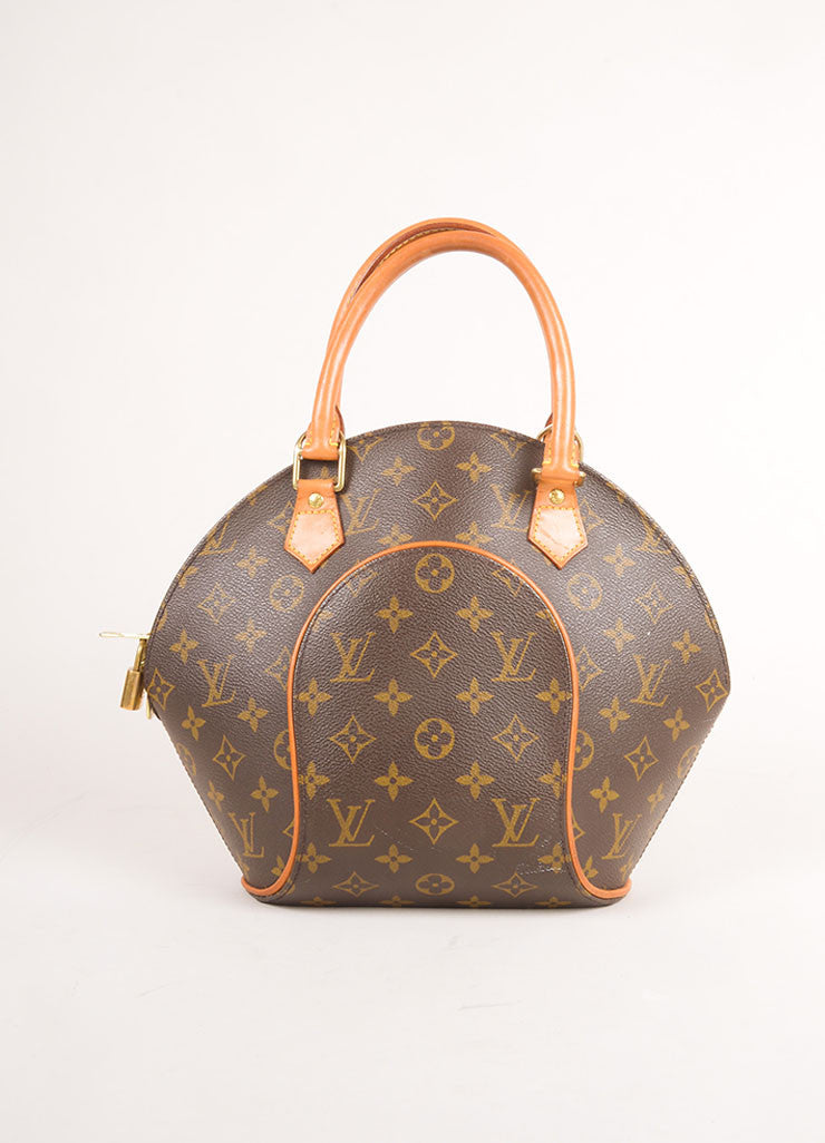 "Louis Vuitton Brown Coated Monogram Canvas Hardshell ""Ellipse PM"" Handbag Frontview"