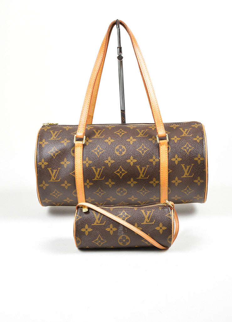 "Brown and Tan Louis Vuitton Coated Canvas and Leather Monogram ""Papillon 30"" Barrel Bag Accessory"