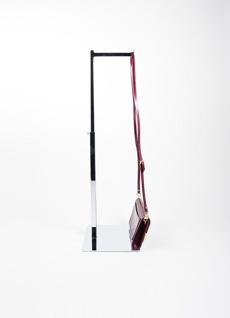 "Burgundy Louis Vuitton Leather Vernis Monogram ""Rossmore PM"" Baguette Bag Sideview"