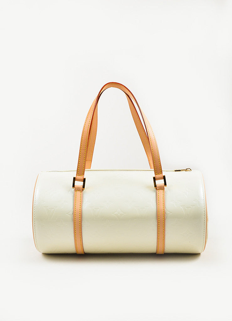 "Louis Vuitton Cream Monogram Vernis Leather ""Bedford"" Duffel Bag Frontview"