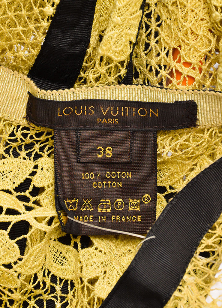 Louis Vuitton Yellow and Brown Cotton Lace Bow Ribbon Trim Skirt Brand