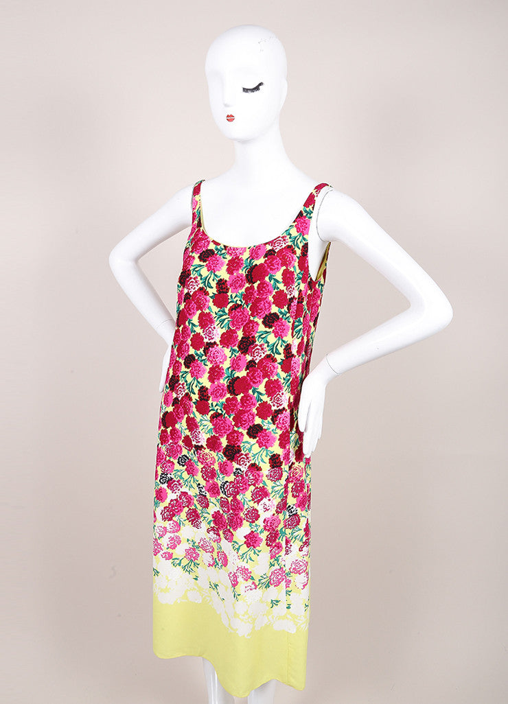Marc Jacobs New With Tags Pink and Yellow Floral Print Sleeveless Scoop Neck Crepe Dress Sideview