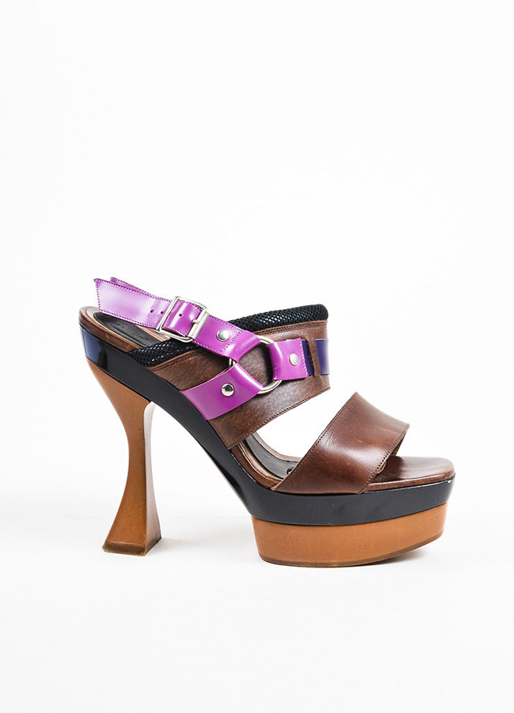 Purple and Brown Marni Leather Horse Bit Platform Slingback Sandals Sideview