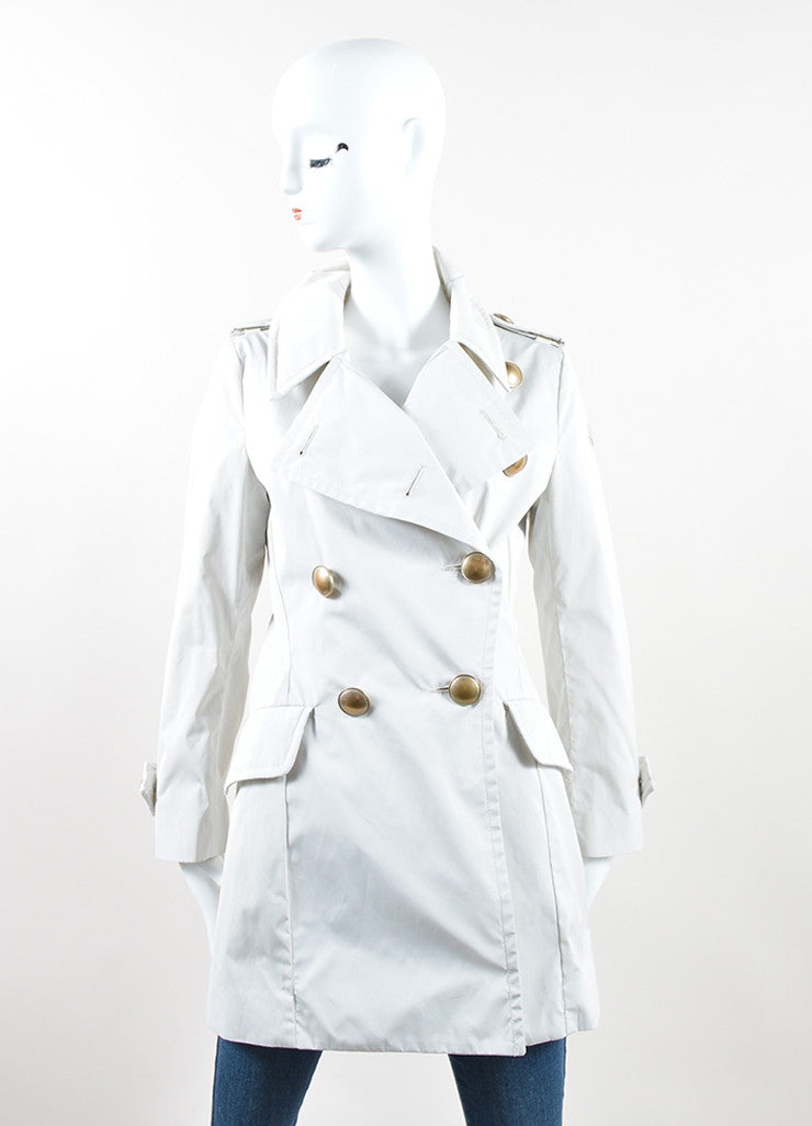 Moncler Sandy Tan Water Resistant Double Breasted Flared Trench Coat Frontview