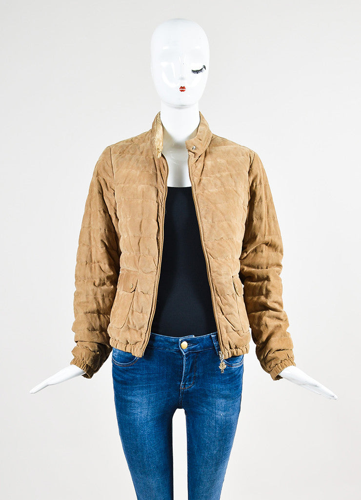 Moncler Tan Suede Down Quilted Puffer Coat Frontview