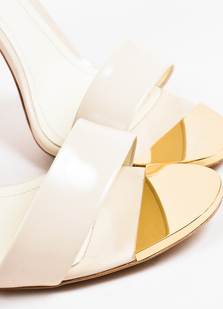 "Nicholas Kirkwood ""Nude"" Leather Contoured Heel ""Maeva"" Sandals Detail"