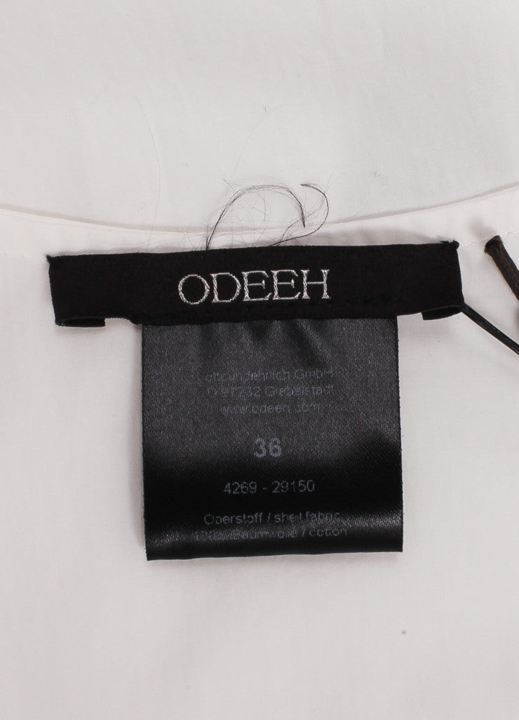 "Odeeh New With Tags ""Milk"" White Cotton Poplin Scoop Neck Tank Top Brand"
