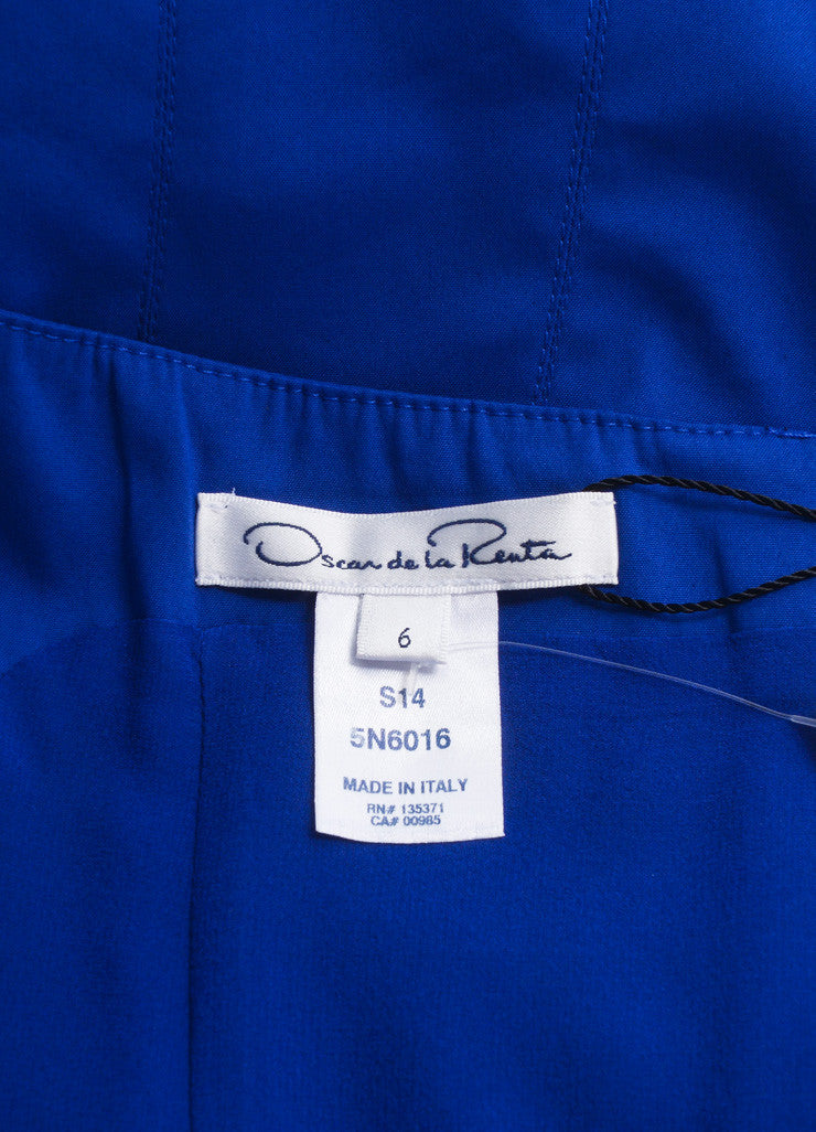 Oscar de la Renta New With Tags Blue Cotton Sleeveless Pleated A-Line Dress Brand