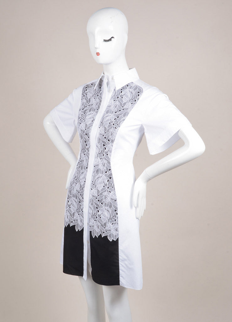 "Peter Pilotto New With Tags White and Black Poplin Silk Lace Trim ""Cate"" Dress Sideview"