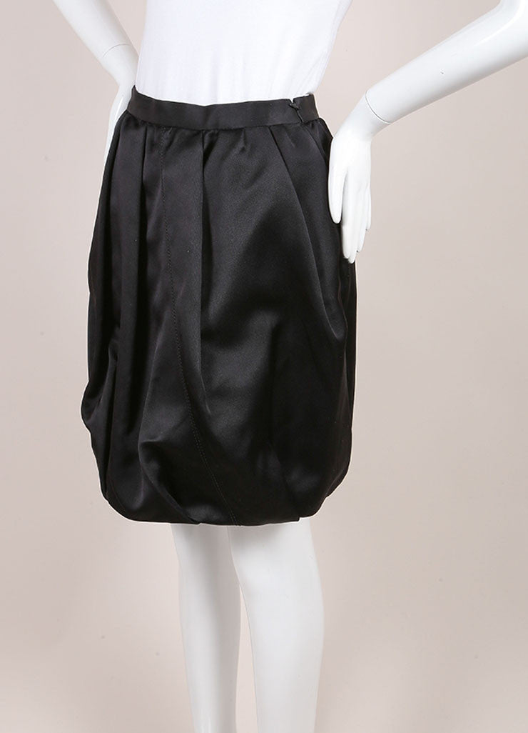 Prada Black Silk Bubble Skirt Sideview