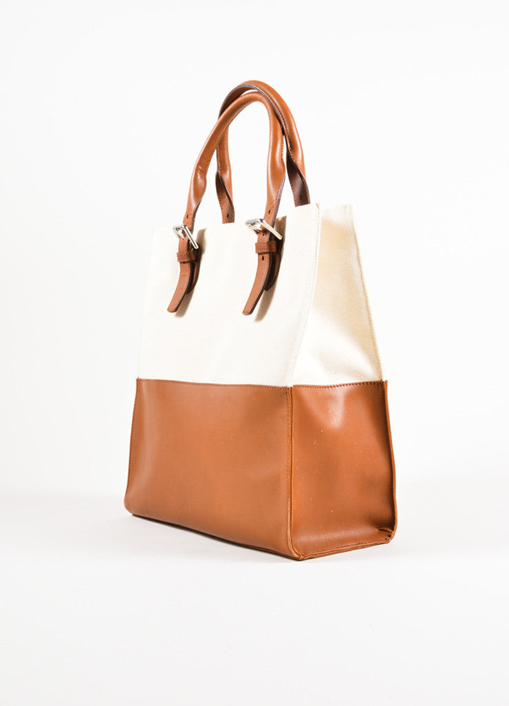 Ralph Lauren Brown and Tan Canvas and Leather Panel Tote Bag Sideview