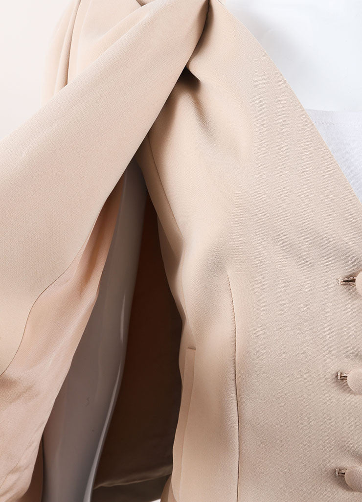 Thakoon New With Tags Tan Wool Crepe Blend Sleeveless Blazer Jacket Cape Detail