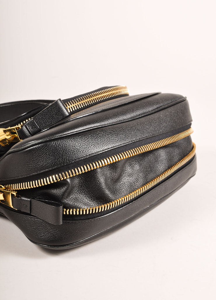 "Tom Ford Black and Gold Toned Chunky Zip Flap Leather ""Jennifer"" Cross Body Bag Bottom View"