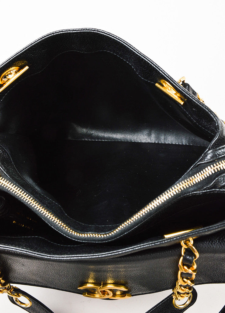 Chanel Black and Gold Toned Caviar Leather 'CC' Twist Lock Shoulder Bag Interior