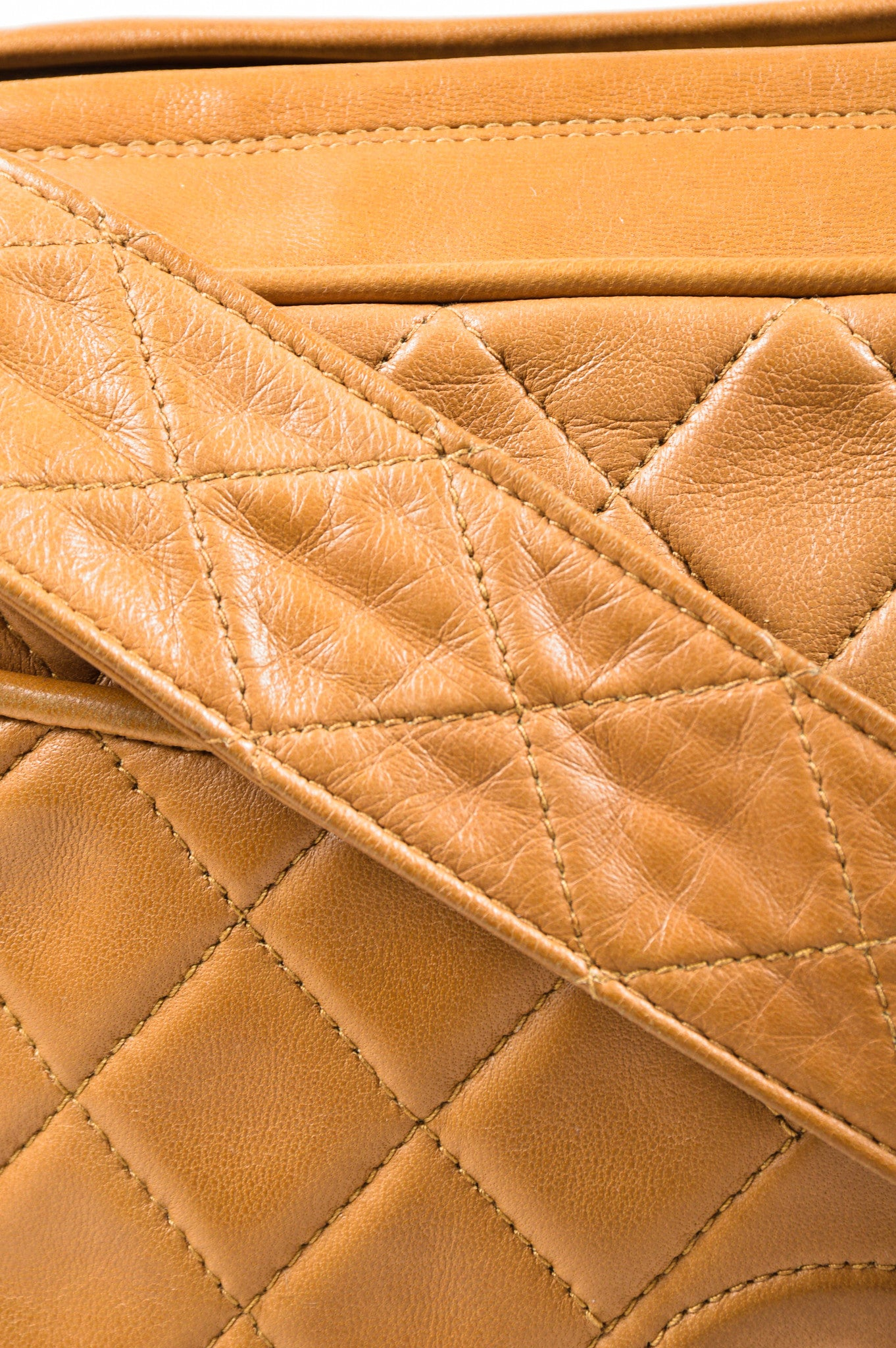 Caramel Tan Chanel Lambskin Leather Quilted 'CC' Tassel Shoulder Bag Detail 2
