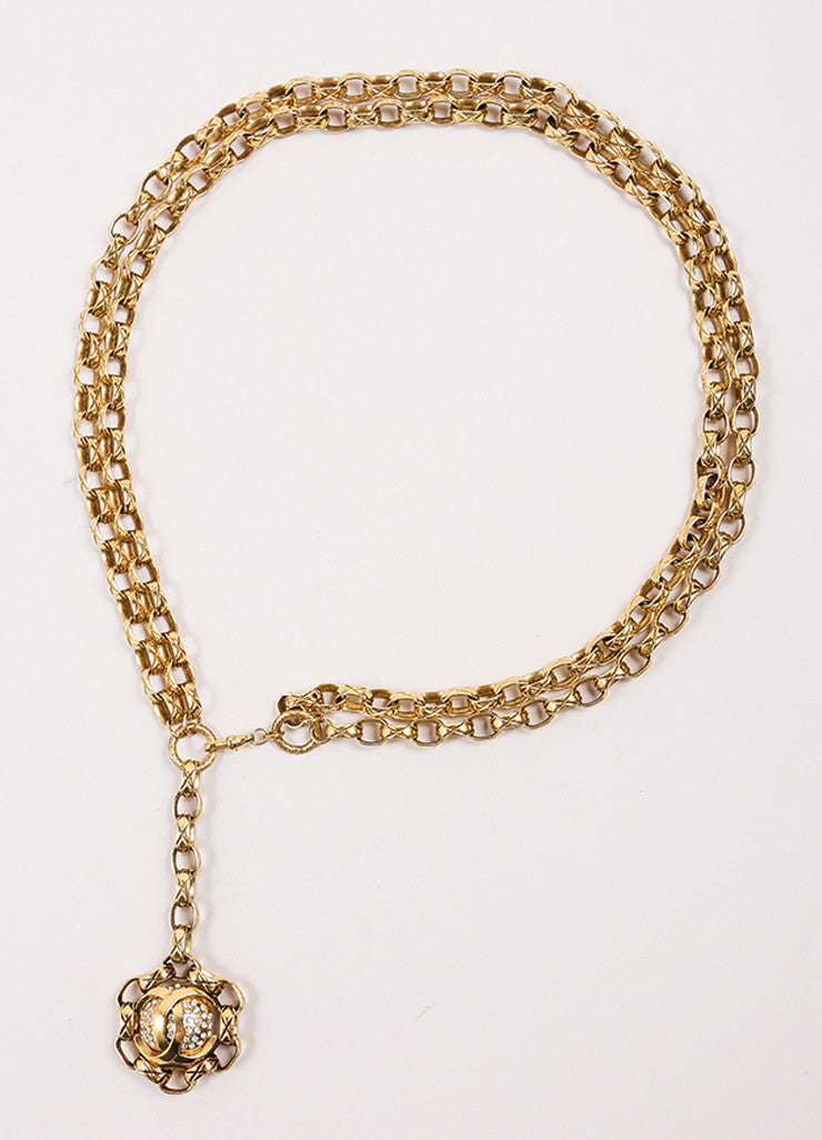 "Chanel Gold Toned Rhinestone ""CC"" Medallion Chain Belt Frontview"