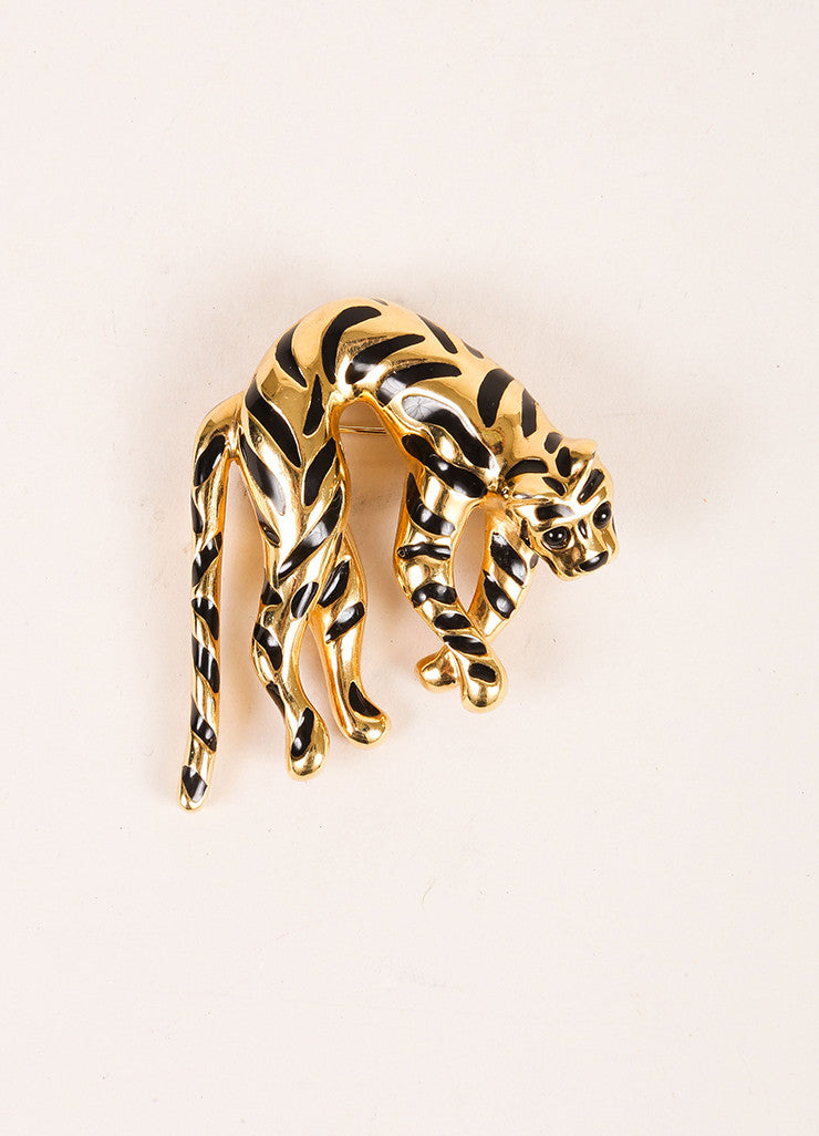 Ciner Gold Toned and Black Metal and Enamel Tiger Pin Brooch Frontview