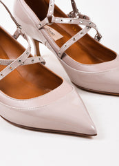 "Beige Valentino Patent Leather Caged ""Love Latch"" Pumps Detail"