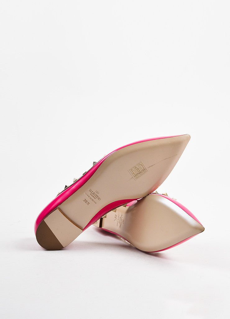 "Valentino Pink and Gold Toned Patent Leather ""Rockstud"" Flats Outsoles"