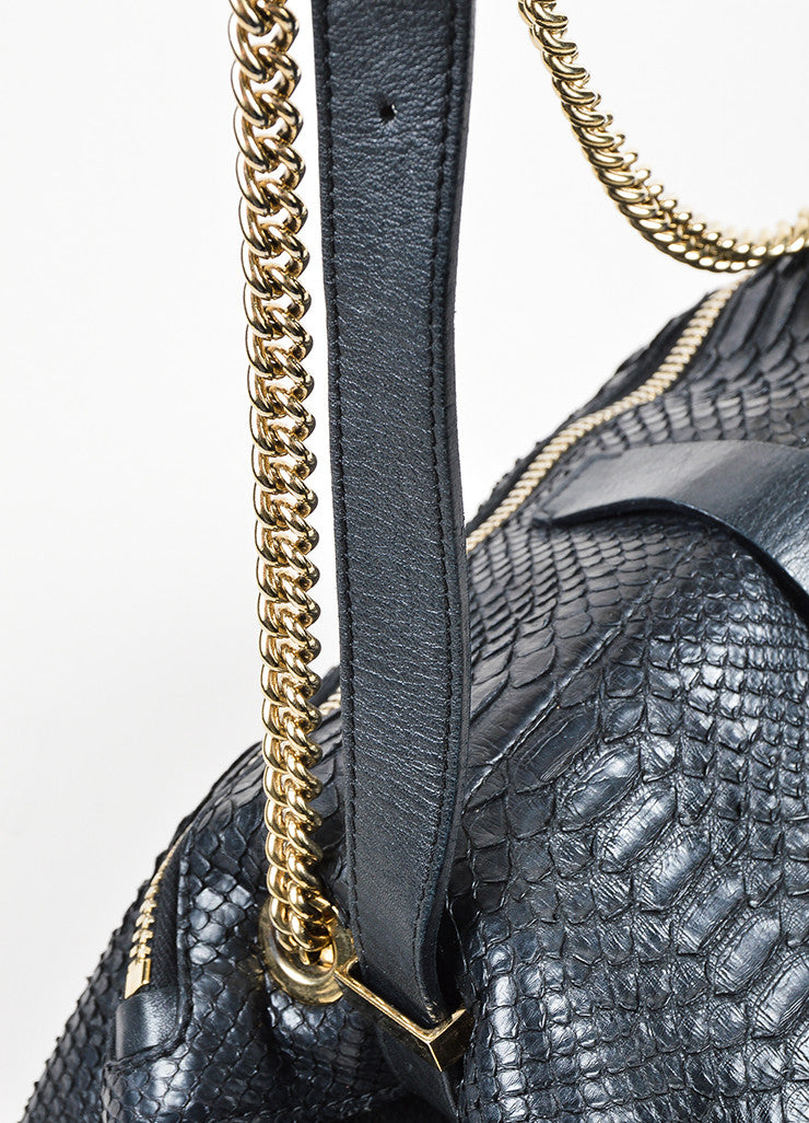 Victoria Beckham Black Python Gold Toned Chain Satchel Bag Detail 2