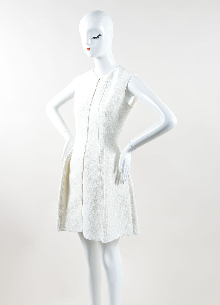 Victoria Beckham Cream Textured Zip Up Pleated Sleeveless Dress Sideview