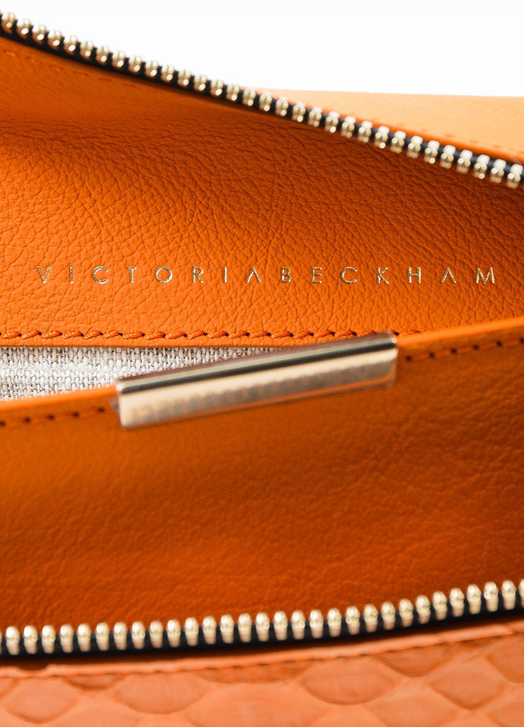 Orange Victoria Beckham Python and Buffalo Zip Oversized Pouch Clutch Bag Brand