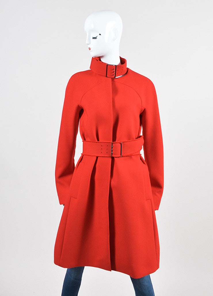 Red Victoria Beckham Wool Belted Button Coat Frontview
