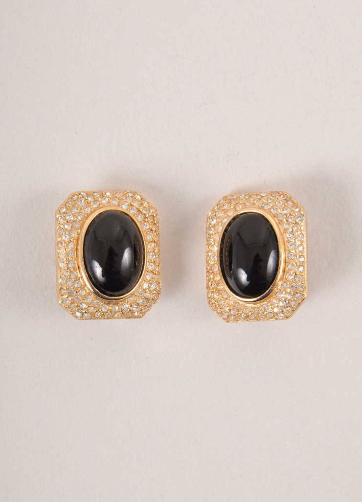 Christian Dior Gold Toned and Black Rhinestone Rectangle Earrings Frontview