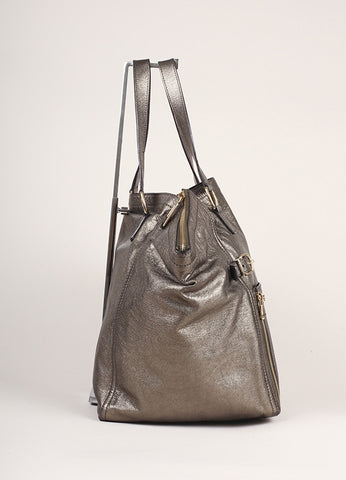 Yves Saint Laurent Grey Metallic Leather Tote Bag Sideview