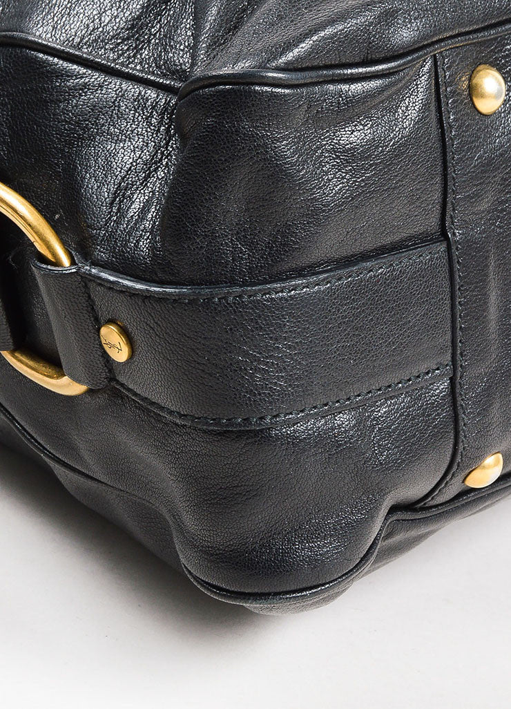 "Yves Saint Laurent Rive Gauche Black Leather ""Muse Messenger"" Satchel Bag Detail"